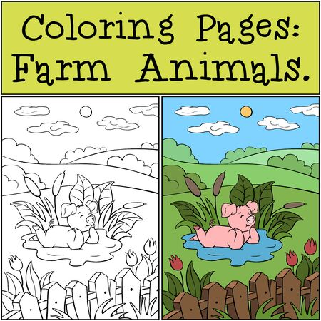 Coloring Pages: Farm Animals. Cute little piggy is lying in a puddle and smiling. Illustration