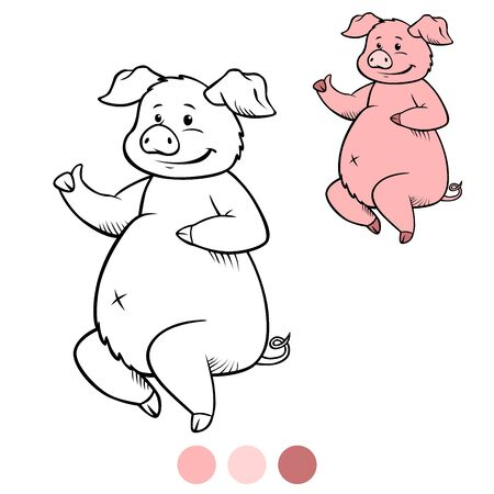 Color me: cute pig sits and smiles. Thumb up!