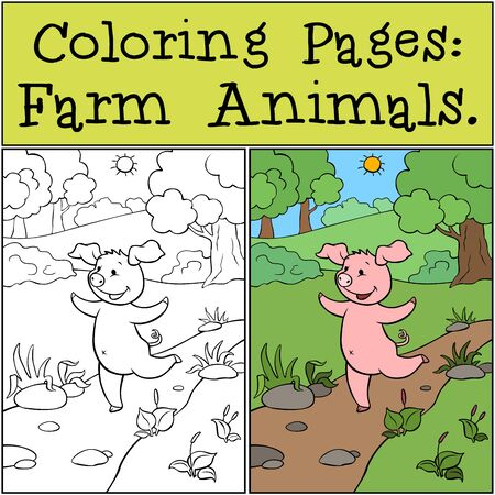 Coloring Pages with example: Farm Animals. A cute little pig runs along the road and laughs.