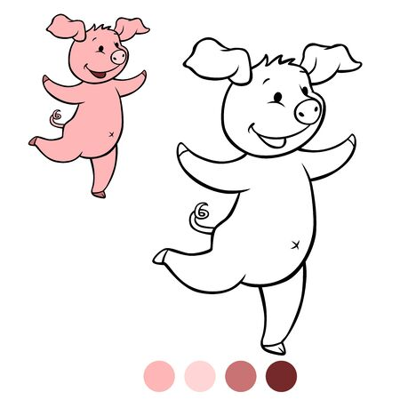 Color me: Little cute piglet runs and smiles.