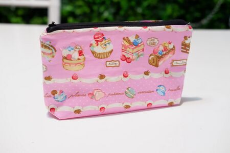 pretty small pouch as a background Stock Photo