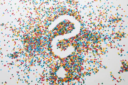 Confetti forms a question mark