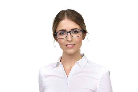 Pretty blond woman wears glasses