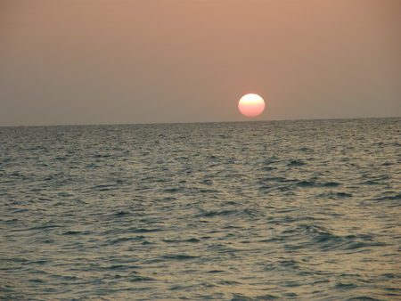 Sunset at the caribbean sea, Colombia Stock Photo