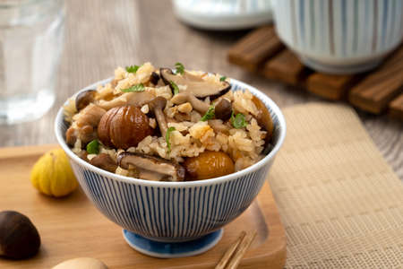 Delicious Japanese chestnut and chicken with shimeji seasoned mixed rice, also known as takikomi gohan.