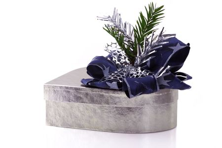 robbon: silver Gift Box with blue robbon Stock Photo