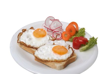 egg sunny side up of Toast bread photo