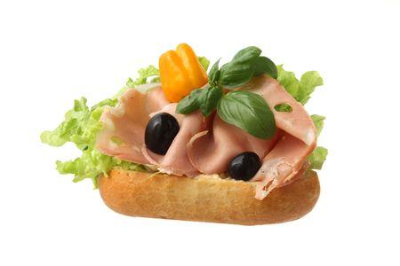 italian Gourmet Sandwich with Mortadella Stock Photo