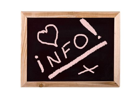 forgetful: Info school blackboard isolated on white background Stock Photo