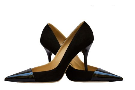 Black woman shoes isolated on white photo