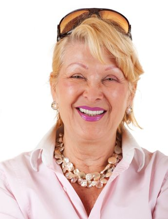 Portrait of happy senior businesswoman on white background Stock Photo - 5142717