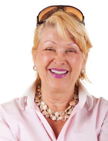 Portrait of happy senior businesswoman on white background Stock Photo - 5142717