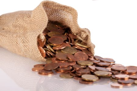 Brown bag with euro coins money Stock Photo - 6058900