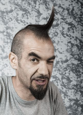 Trendy looking Italian Artist with funky hairstyle  photo