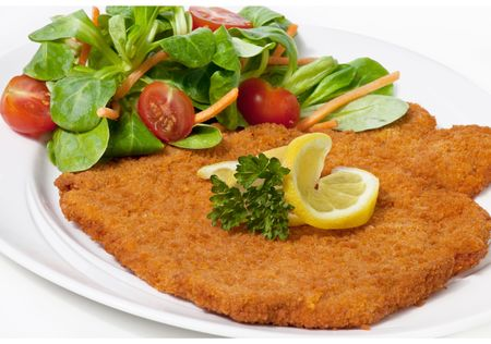 breaded: Original fried breaded Veal Viennese with Salad (could be either veal, pork or chicken schnitzel)