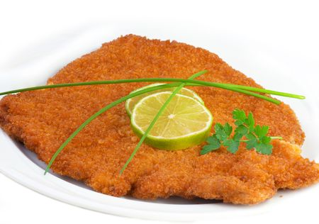 Original fried breaded Veal Viennese (could be either veal, pork or chicken schnitzel)