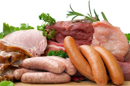 german food: Butcher Fresh Meat with Sausage, Turkey, Beef and Smoked Pork Chops