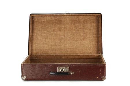 open suitcase: Old brown suitcase for travel isolated on white background
