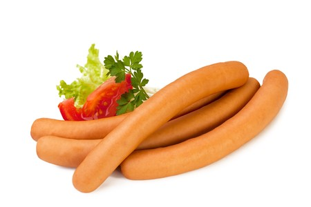 Bunch of Sausage isolated on white Background Stock Photo