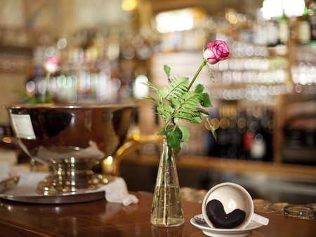 coffee grounds:  Rose and cup of coffee ( Heart of Coffee Grounds) on Bar Stock Photo