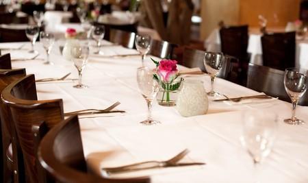 Fine table setting in gourmet restaurant, full frame