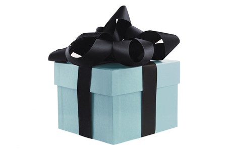 Gift Box with black-colored bow and ribbons isolated on white Stock Photo - 7639089