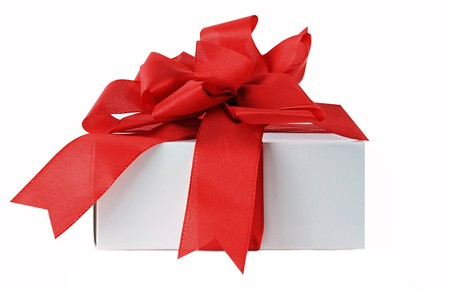 Gift Box with a red Ribbon isolated white background Stock Photo - 7639277