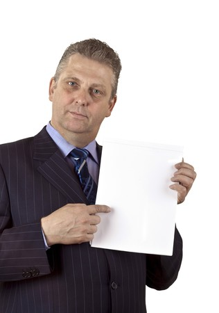 Portrait of a mature businessman whith blank card in a hand isolated on white background Stock Photo - 7639268