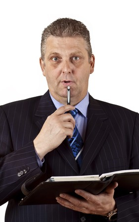 Close-up of a senior businessman isolated on white background photo