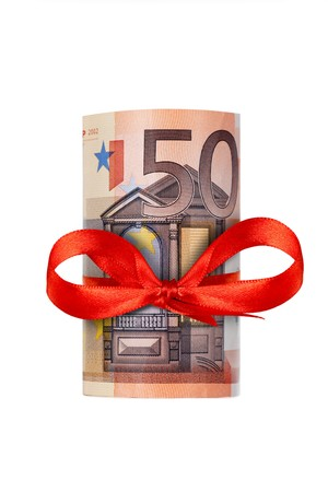 Rolled up eighty euro with red ribbon isolated on white background Stock Photo - 7639427