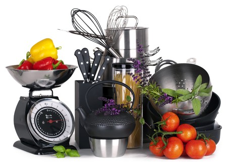 stainless steel kitchen tools, pot, pan, wire whisk on white Background photo