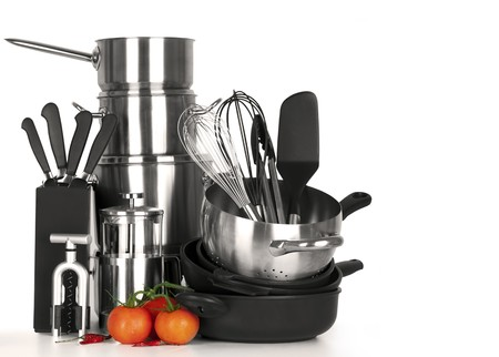 stainless steel kitchen: stainless steel kitchen tools, pot, pan, wire whisk on white Background