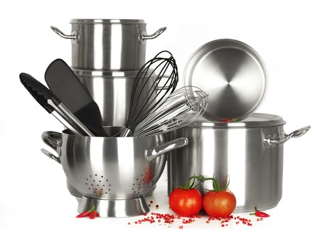 stainless steel kitchen tools, pot, pan, wire whisk on white Background Stock Photo - 7925658