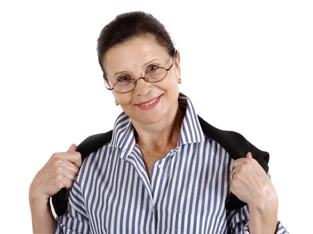 Portrait of a brunette woman wearing a pair of dark rimmed eyeglasses with a great smile on her face photo