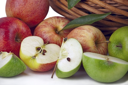 Red and Green Apple Arrangement Isolated On White with light Shadow photo