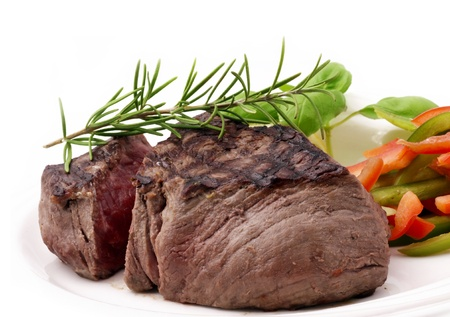 Grilled Beef Filet with seasonal vegetables and Rosemary  Stock Photo