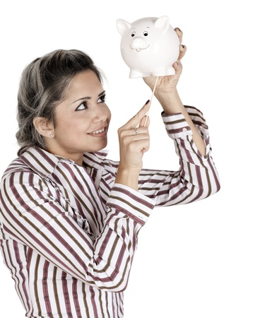 cashing: Cashing out- female depletes what little she has left in her savings, Isolated on white