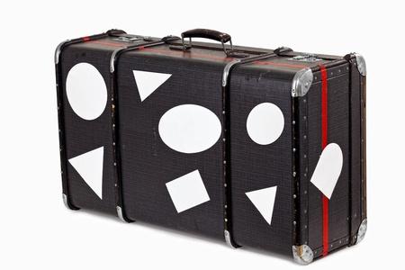Sehr alte verwendet Koffer mit leeren Reisen Aufkleber,  Lizenzfreie Bilder