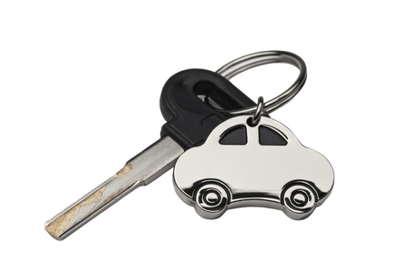 Car Key and key chain with the Car, isolated on white