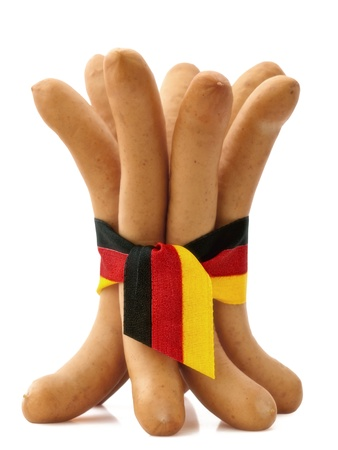 bunch of frankfurter sausages Isolated photo