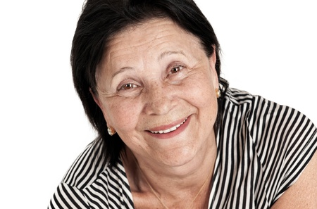 mature woman with a gorgeous smile on white background photo