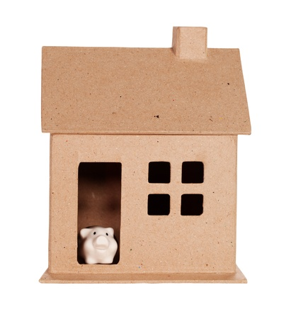 Model house and Piggy Bank Isolated On White Stock Photo - 10649488