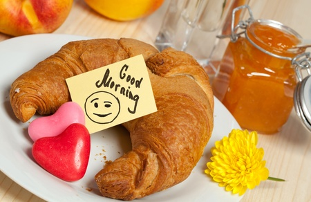 breakfast smiley face: Breakfast with Croissant  fruits, jam and Smiley Sticky Note