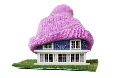 environmental conservation: Alternative Energy Ideas, House with Purple Knitted Cap on a roof