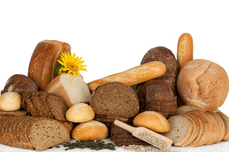 Assortment of baked goods, bread and bakeries-studio shot.  Stock Photo