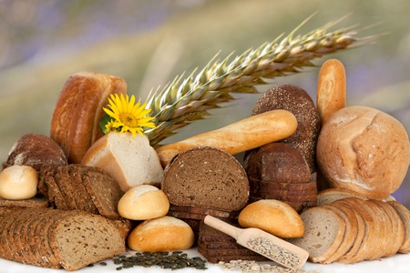 Assortment of baked goods, bread and bakeries display