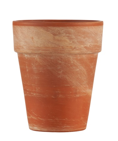 terracotta: empty pot ready for whatever isolated on white