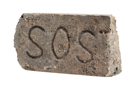 sos: original SOS message in the old Dirty Broken Brick, Isolated on White Background