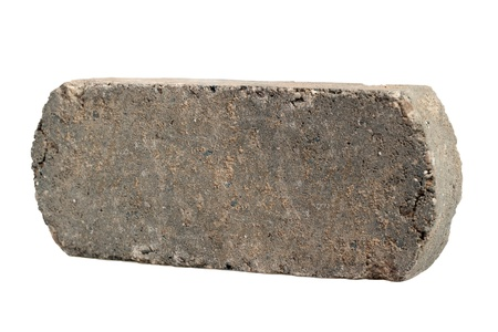 old Dirty grey Brick, Isolated on White Background photo