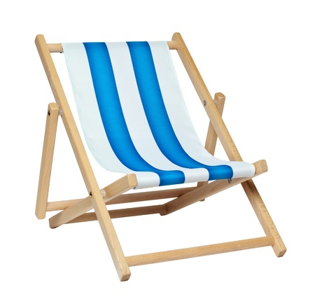 Traditional deck chair isolated against a white background   版權商用圖片